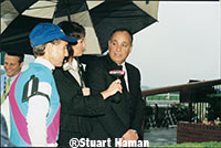 ESPN's Jeannine Edwards interviewed Jerry Bailey (left) and Bobby Frankel after Empire Maker denied Funny Cide's Triple Crown try in the Belmont.