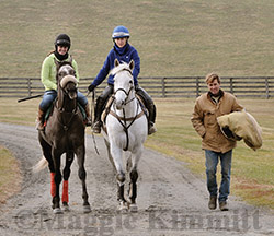 All in the family, Chris Boniface and Learning (center) lead Lia McGuirk on a youngster. Chris' husband Kevin Boniface trained Learning prior to his new role as farm lead pony, hunter and hack for Chris.