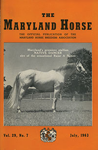 Maryland Horse July 1963 cover featured Native Dancer