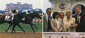 Laffit Pincay Jr. brought home longshot Sean's Ferrari (on rail) in the 1987 Nursery to the delight of his connections (from left): trainer Bill Boniface, co-owner Joan Boniface, Maryland Million founder Jim McKay, and his wife Margaret McManus who bred and co-owned the colt, and the McManuses' friend and race sponsor Jim McManus (no relation).